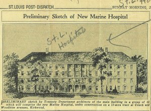 A sketch of the new Marine Hospital in Kirkwood, Missouri, completed in 1939. (St. Louis Post-Dispatch)