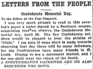 Letters from the People, St. Louis Post-Dispatch (April 19, 1911)