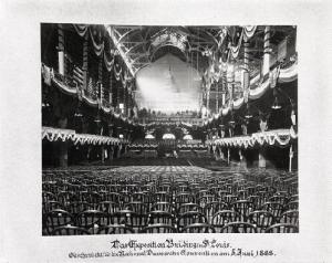 St. Louis Exposition and Music Hall (interior view with chairs set up for Democratic Convention, 1888). Photograph by unknown, 1888. Missouri History Museum Photograph and Prints collection. Wilhelm von Mallinckrodt Album: