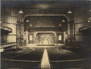 Exposition and Music Hall, interior view of Music Hall showing auditorium seating and stage. Photograph by Unknown, late nineteenth century. Missouri History Museum Photograph and Prints collection. Public Halls. Image number: 41258 {